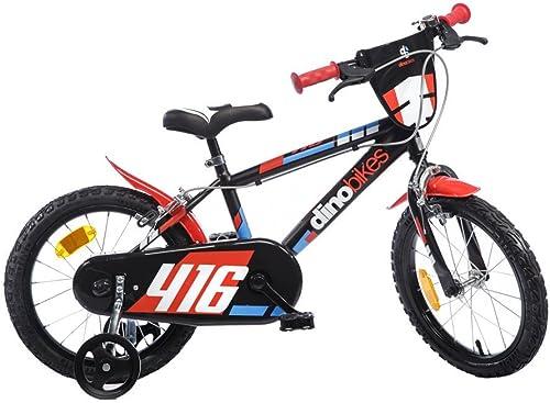 Kinderfürrad Jungen Dino Bikes 16 Zoll mit 2 Bremsen am Lenker R r Kotflügel SchwarzRot