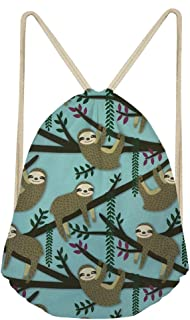 Water-Resistant Drawstring Bag Cinch Storage Backpack Cartoon Cute Sloth Gifts for Children
