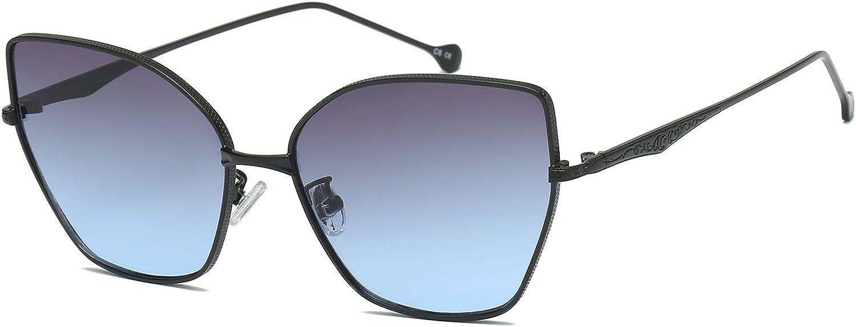 Mareine Cateye Sunglasses Metal Frame with Butterfly StyleBlack Frame Gradual Grey Lens