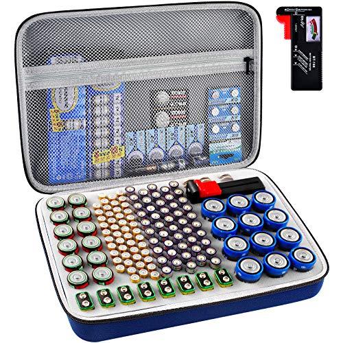 Batterie Aufbewahrungsbox, Batterien Aufbewahrung Organizer Tasche mit Batterietester Akkutester. Batterien Aufbewahrung Behälter Box Hält für AA AAA 9V C D Lithium 3V LR44 CR2016 CR1632 CR2032 CR2025