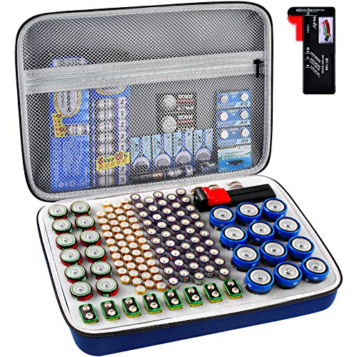 Battery Organizer Storage Holder, Batteries Storage Containers Box with Battery Tester Checker Fits for AA AAA 9V C D Lithium 3V LR44 CR2016 CR1632 CR2032 CR2025 (Case Not Includes Batteries)