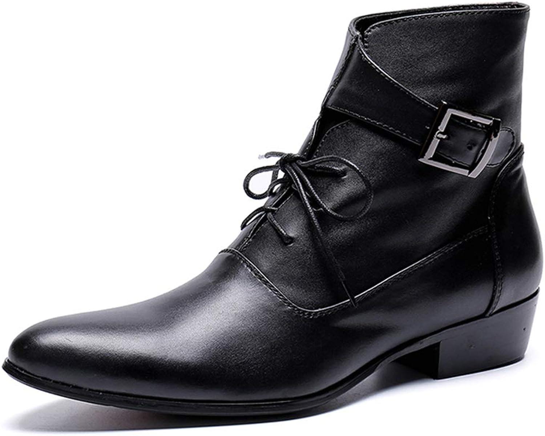 Rui Landed Ankle Stiefel für Mnner High Top Stiefel Lace Up Stil aus hochwertigem echtem Leder Schnallen Elegante schwarz Nachtclub (Farbe   Schwarz, Gre   40 EU)