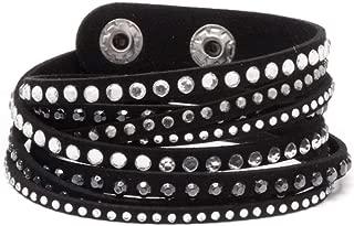 Barzel Leather Created Austrian Crystals Wrap Bracelets (Many Options Available)