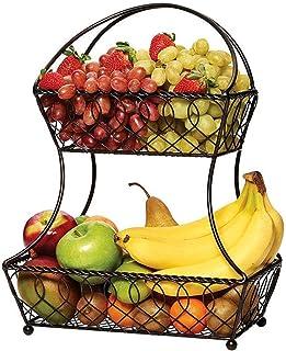 Greenf Grande Corbeille à Fruits 2 étages Panier à Fruits à étages Porte-Fruits en Métal, Corbeille Table Fruit Décoration...