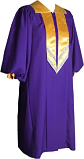 Unisex Adult Purple Choir Robes Matte Finish for Baptisms with Cuff Sleeves