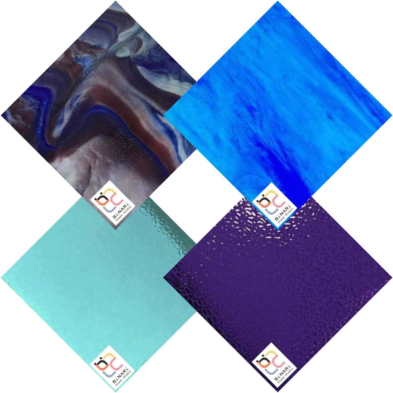 Finally resale start Wissmach 4 Sheet Max 63% OFF Mixed Color Variety Glass Stained Blue Pu Pack