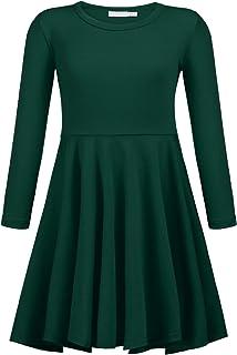 Balasha Big Girls Long Sleeve Solid Color High Waist Swing Skater Casual Dress