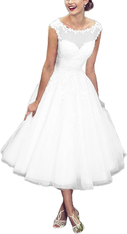 Cdress Tulle Short Wedding Dresses Lace Applique Bridal Gowns for Bride Tea Length