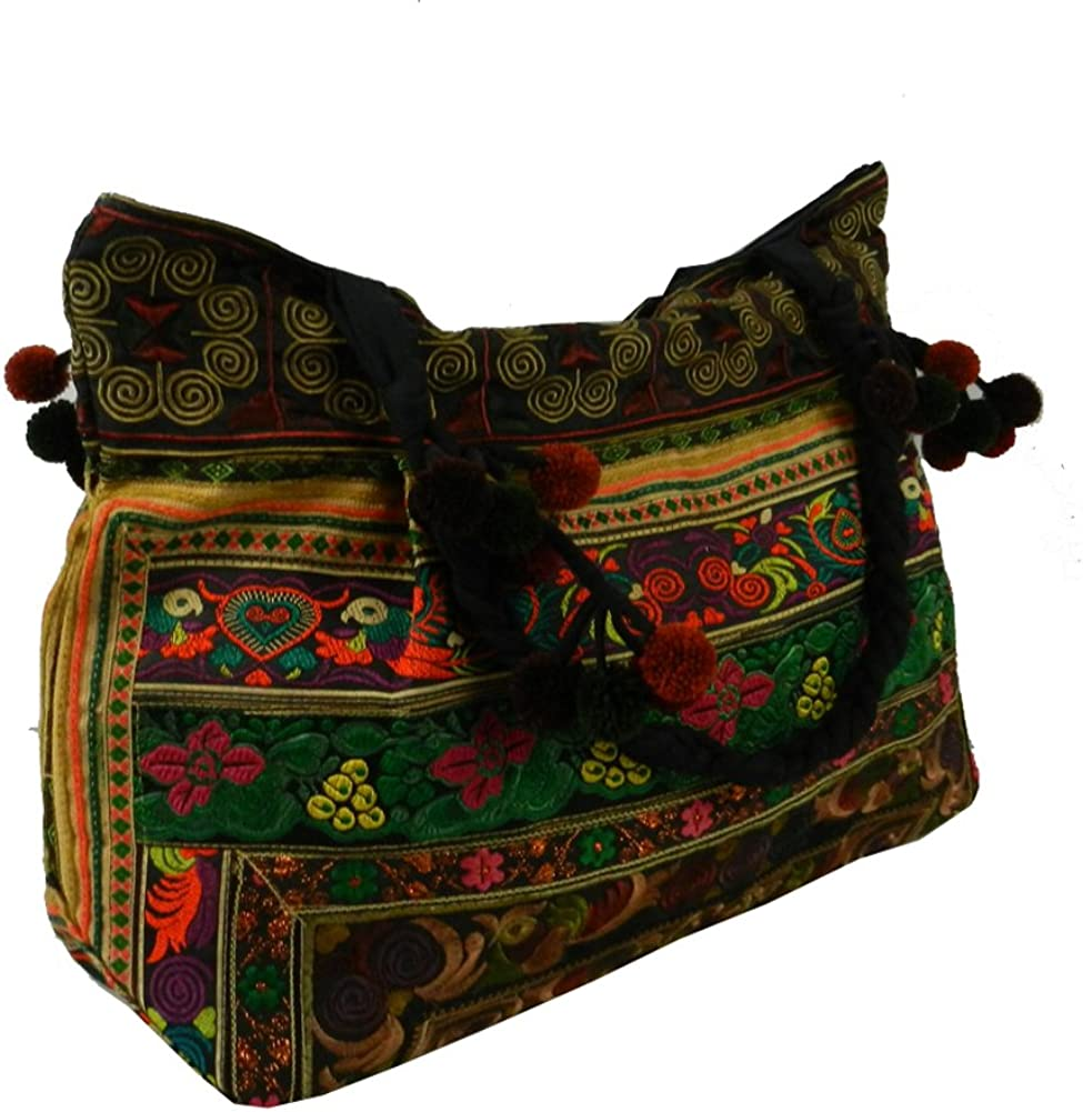 BTP! Hmong Shoulder Bag Hilltribe Large Tote Ethnic Purse Floral Embroidered Vintage Fabric HMT12