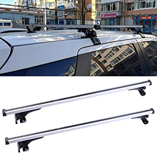 LUJUNTEC Adjustable Aluminum Roof Mounted Roof Rack Cross Bar Set Fit for 2010 2011 2012 2013 2014 2015 2016 2017 Chevrolet Cruz/Kia Soul/Kia Forte Top Rail Carries Luggage Carrier