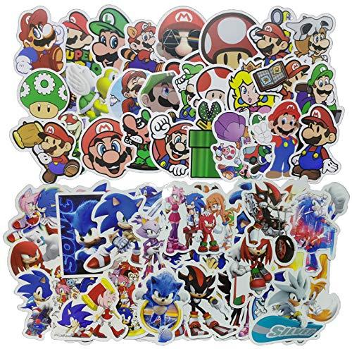 XINKO Sonic Cartoon Aufkleber 100 Stück Cartoon Charakter Super Mario Aufkleber DIY Dekoration Laptop Gepäck Helm Wasser Tasse Kühlschrank Gitarre Skateboard