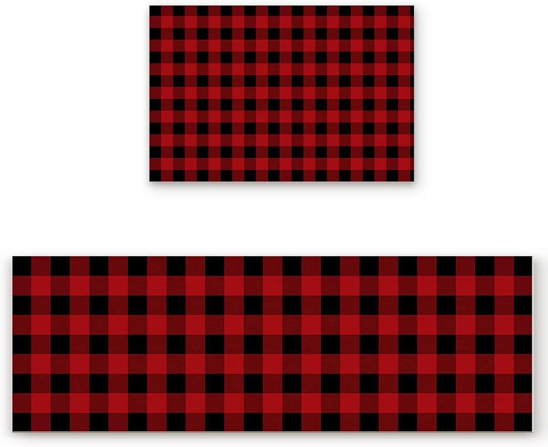 ZL Home Kitchen Rugs Max 68% OFF and Mats Non Cush Plaid Black Atlanta Mall Red Slip