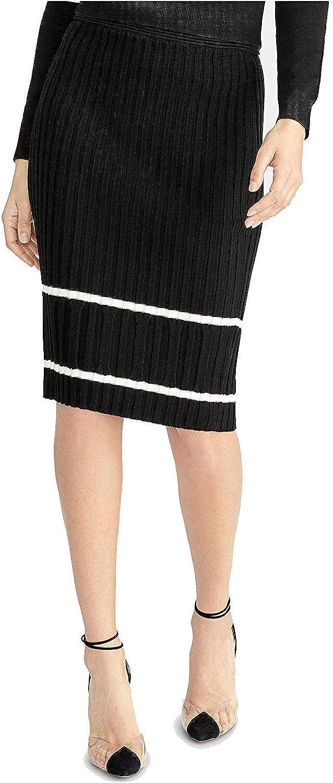RACHEL Rachel Roy Women's Ribbed Pencil Sweater Skirt (Black Stone, XX-Large)