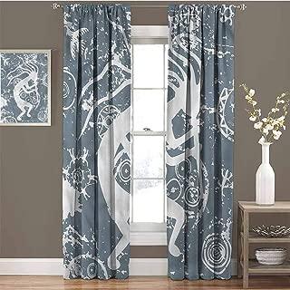 Kokopelli 99% Blackout Curtains Grunge Symbol Fertility for Bedroom Kindergarten Living Room W96 x L72 Inch