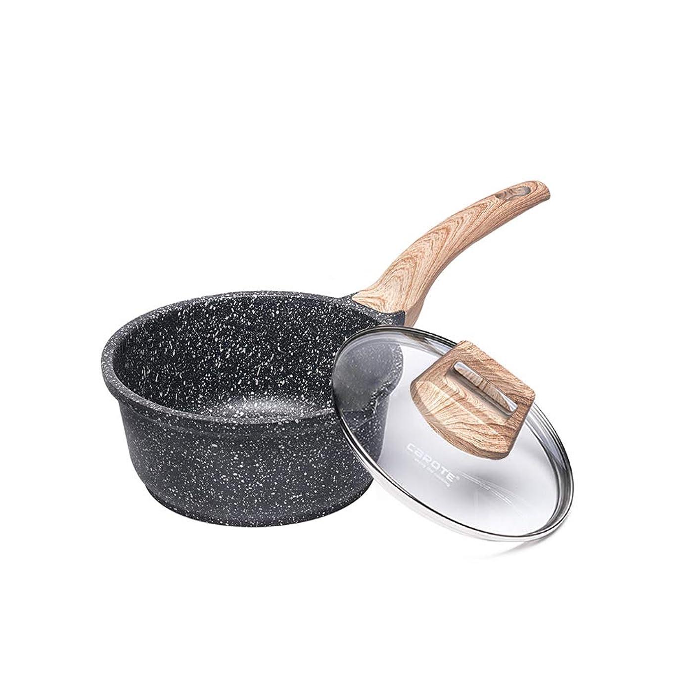 感じ扱う地元CAROTE 片手鍋 18cm IH対応 焦げ付きにくい マーブルコーティング オール熱源対応 ガラス蓋付き ブラック EW(18cm)