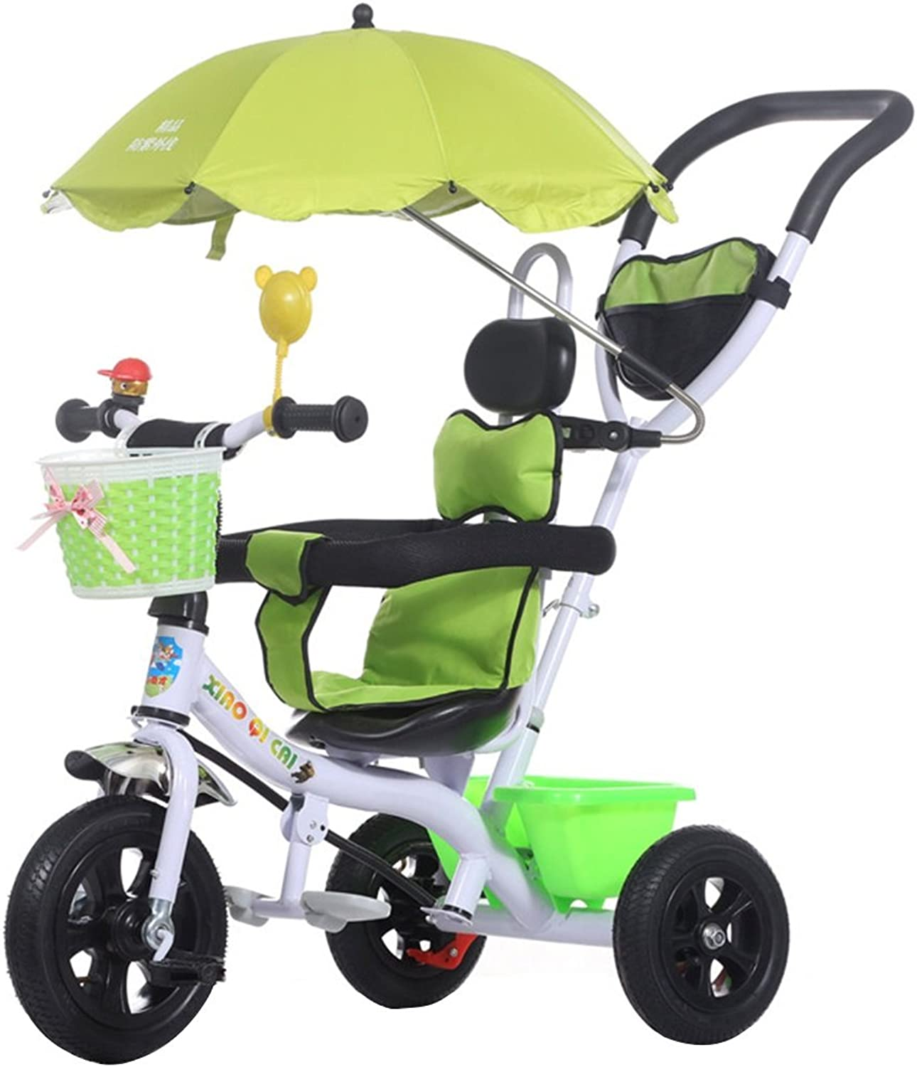 Kids' Tricycles Kids Tricycle Stroller Baby Folding UV Inflatable Wheel Bike 15 Years Old Baby Stroller Green 25kg Kid's Outdoor Riding