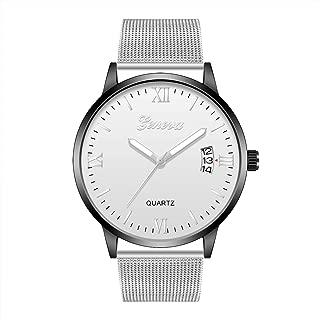 Fashion Men Metal Calender Watch Steel Mesh Belt Wrap Bracelet Quartz Wrist Watch Digital Date Watch (Size : 4)