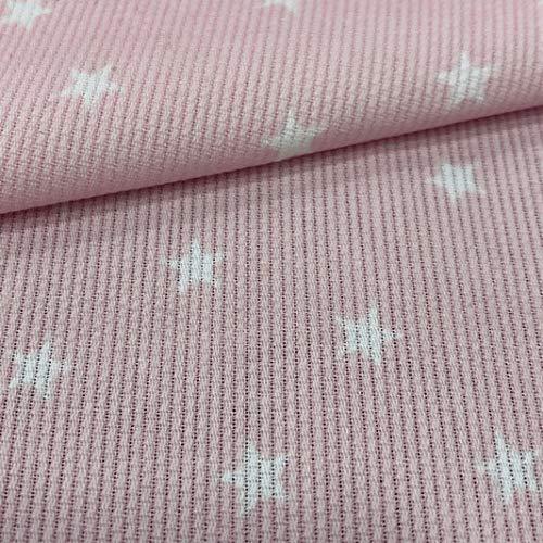 Tela de Pique Canutillo Estrellas Rosa, 100% Algodón. Ancho 1.50 Mtrs. 1 Mtr.