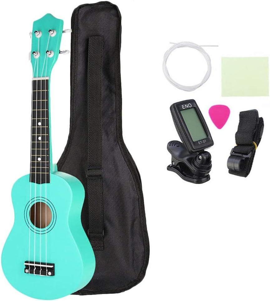 WH-IOE Acústica Guitarra Principiantes Los Estudiantes niños 21 Instrumento Musical Ukelele Soprano Uke Pulgadas económica con Funda Cuerdas sintonizador Poca Guitarra - Verde para Principiantes