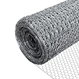 VOUNOT Grillage a Poule en Acier Galvanise 1x25m Maille 25mm Hexagonal Triple Torsion Cloture Resistant Poulailler Jardin Grillage pour Elevage...