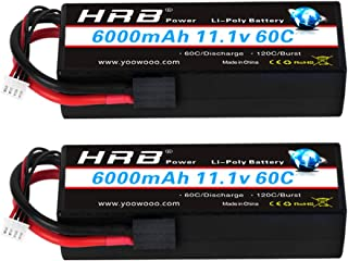 HRB 2PCS 3S Lipo Battery 11.1V 6000mAh 60C Hard Case RC Battery with TR Connector Plug Compatible for RC 1/8 1/10 Scale Ve...