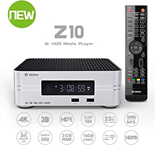 Zidoo Android 7.1 TV Box Z10 4K Smart TV Box NAS 2GB DDR 16GB Media Player Realtek 1296 4 núcleos 64 bits A53 procesador WiFi, Bluetooth 4.1 UHD Set Top Box with Remote