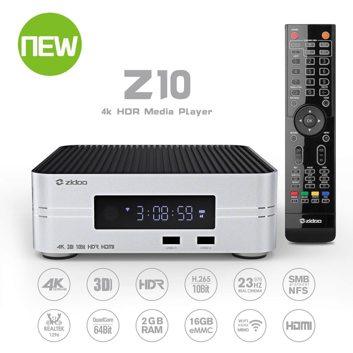 Zidoo Android 7.1 TV Box Z10 4K Smart TV Box NAS 2GB DDR 16GB Media Player Realtek 1296 4 núcleos 64 bits A53 procesador WiFi, Bluetooth 4.1 UHD Set Top Box with Remote: Amazon.es: Electrónica