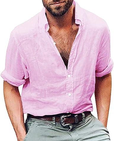 OPAKY Camisa de Manga Larga para Hombre Algodón Lino Playa ...