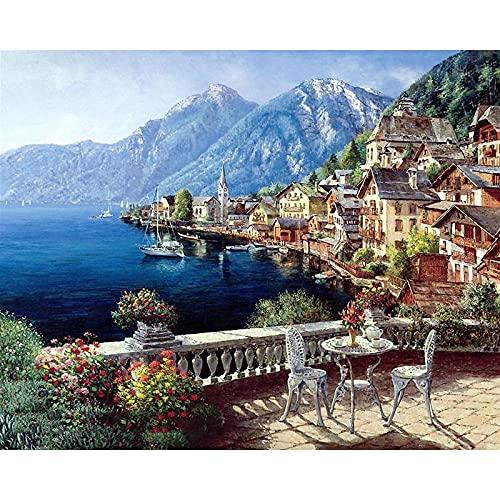 Pintura al óleo de paisaje de puerto pintura por número Kits de vista de calle dibujo sobre lienzo para niños adultos decoración del hogar regalo A7 60x75cm