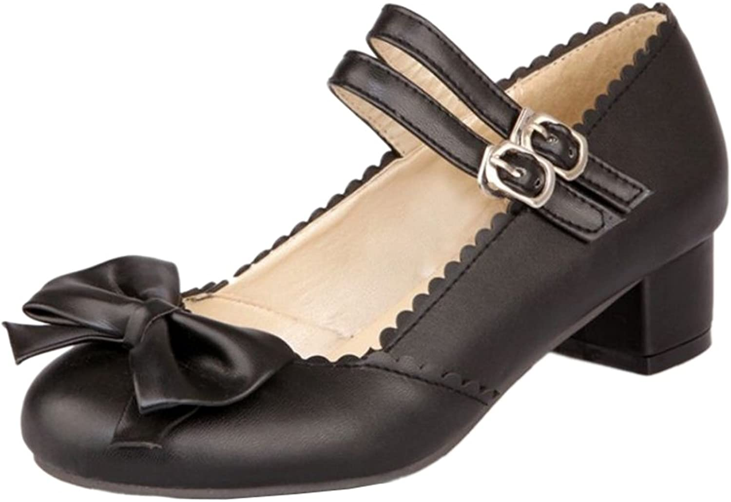 Mo Joc Casual shoes with Low Heel and Bowtie Women shoes with Mini Large Black