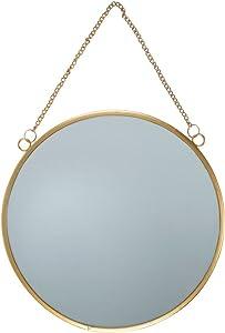 Espejo redondo con detalles dorados