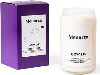 GOVALIS Vela Menorca | Perfumadas y Aromáticas | Cera de Soja & Coco 100% Natural – Velas Recuerdos Relajación Decorativas Yoga Grandes Blancas Cumpleaños Regalos Originales – 70-90 h – 390 g