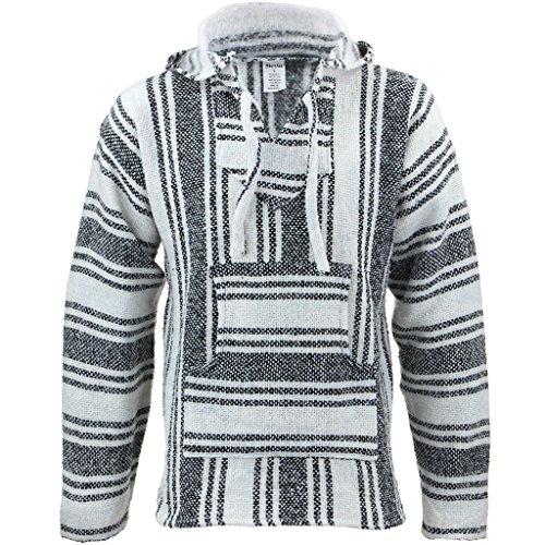 Siesta - Sudadera hippie mexicana, color blanco y negro, con capucha Gris gris XXL