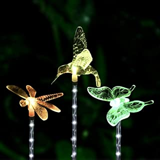 Dolucky Solar Lights Outdoor Garden Decotative Lighting, Color-Changing Solar Garden Stakes Lights, Hummingbird Butterfly Dragonfly for Outdoor Decor,Garden, Pathway, Yard, Lawn, Patio, 3 Pack