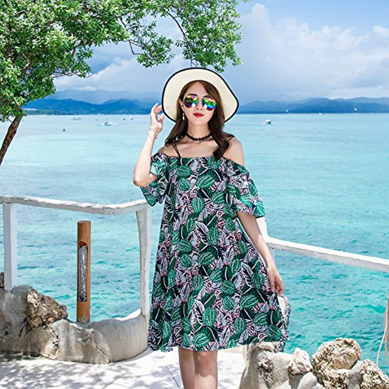 XIURONG Summer Dress Skirt Strapless Floral in The Seaside Resort Changsha Beach Skirt