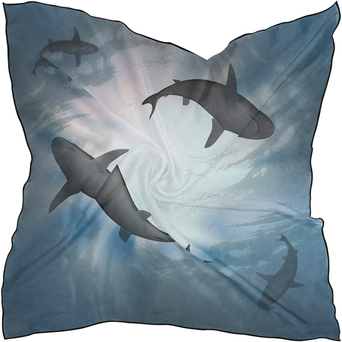 SEULIFE Silk Scarf Blue Water With Shark, Fashion Lightweight Women's Scarf Sheer Shawl Wrap
