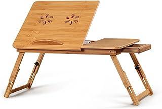 Susulv-HO Escritorio portátil con Soporte portátil Soporte de radiador portatil de Escritorio portátil/Base de Soporte Plegable de bambú. Portátil Mesa Portátil Cama Bandeja Cama Mesa