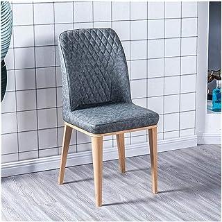 Wuzhengzhijia Inicio tapizados de Cuero Artificial Comer Silla Silla de la Cocina Resistente al Agua, con el Grano de la Madera Patas de Metal sillón cómodo (Color : Dark Gray 1)