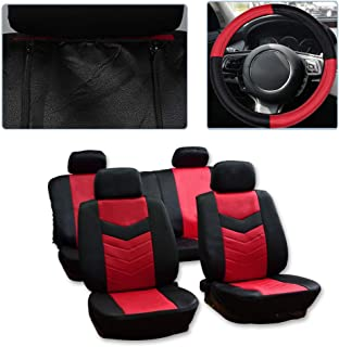 SCITOO Universal Black/Red Car Seat Cover w/Headrest Covers/Steering Wheel Cover/Shoulder Pads 11PCS Breathable Embossed Cloth Retractable Auto Seat Cover Replacement for Most Cars