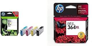 HP 364 Multipack Original Druckerpatronen (Schwarz, Rot, Blau, Gelb) für HP OfficeJet, DeskJet, Photosmart & 364XL Foto schwarz Original Druckerpatrone mit hoher Reichweite für HP Photosmart