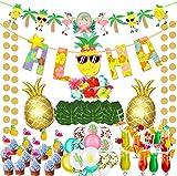 vamei 78 Stück Hawaii Party Deko Set mit Aloha Banner Flamingo Ananas Folienballon Luftballons Tortendeko Strohhalme Tropisch Palmblätter für Sommer Strand Garten Luau Party Dekoration