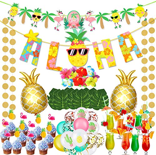 vamei 78 Stück Hawaii Party Deko Set mit Aloha Banner Flamingo Ananas Folienballon Luftballons Tortendeko Strohhalme Tropisch Palmblätter für Sommer Strand Garten Luau Party Dekoration