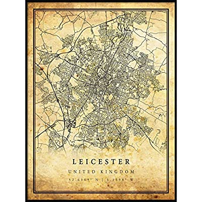 Leicester map Vintage Style Poster Print   Old City Artwork Prints   Antique Style Home Decor   United Kingdom Wall Art Gift   map Posters 8.5x11