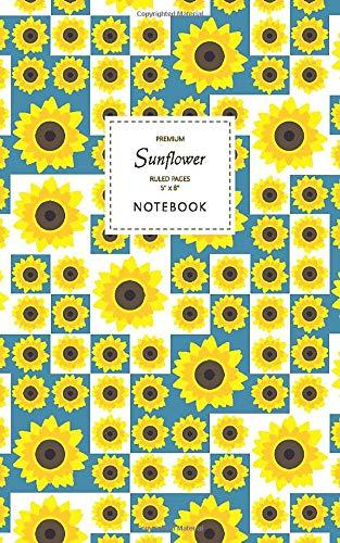 Sunflower Notebook - Ruled Pages - 5x8 Notizbuch - Premium (Blue)