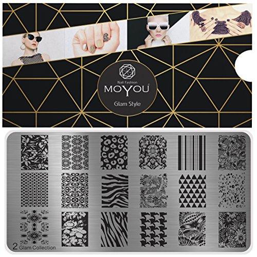 MoYou's XL Glam 2 Stamping Schablone, Nail Art Stampling - Nagel Lack Stempel, Leoparden- und Zebra Druck Maniküre