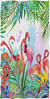 Tropical Flamingo Bird Leave Extra Large Hand Towels 30 X 15 Inch, Palm Tree Bath Bathroom Shower Towels Hand Washcloth Fingertip Towels Highly Absorbent for Hand,Face,Gym and Spa