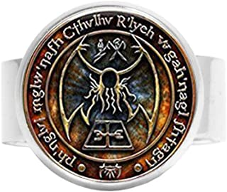 "Anello in vetro cabochon con scritta in lingua inglese ""HE PING Cthulhu R'Lyeh Sigil"""