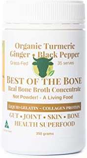 BONE BROTH Premium Beef Bone Broth Concentrate Turmeric Flavor - 100% Sourced From AU Grass-Fed, Pasture-Raised Cattle - Healthier Skin & Nails, Healthy Digestion - Bone Broth Collagen