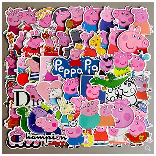 DSSJ Peppa Pig Pegatina de Dibujos Animados Lindo Equipaje portátil Guitarra monopatín Pegatina de teléfono Impermeable 50 Uds