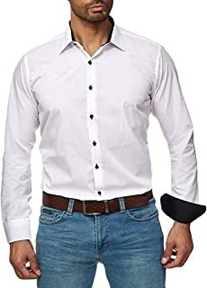 Kaniem Premium Shirts,Mens Young Classic Loose Fit Button Down Shirts with Collar Solid Color Blouse